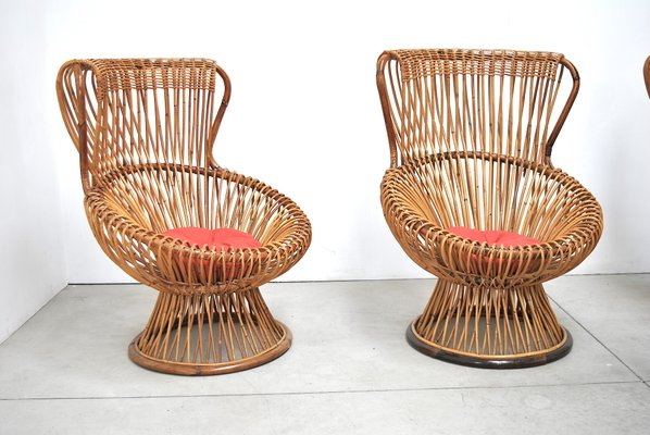 Wicker Chairs By Franco Albini For Vittorio Bonacina 1951 Set Of 4
