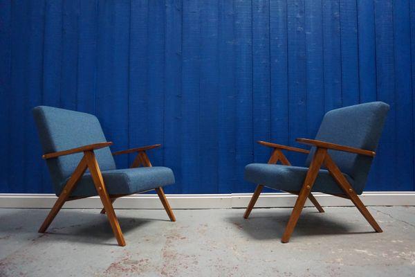 Mid Century Modern Lounge Chair In Blue Tweed, 1960s 1