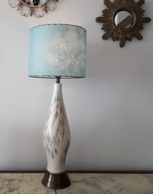 Tall Mid Century American Ceramic Table Lamp With Blue Fibregl Shade