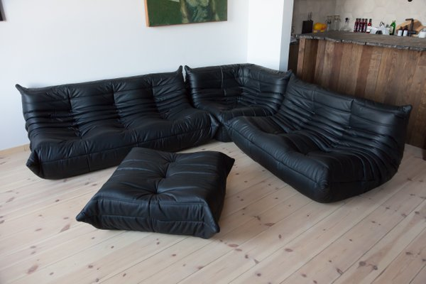 Vintage Togo Black Leather Living Room, Black Leather Living Room Set