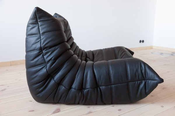 Fantastic Vintage Togo Black Leather Living Room Set By Michel Ducaroy For Ligne Roset 1980S Ncnpc Chair Design For Home Ncnpcorg