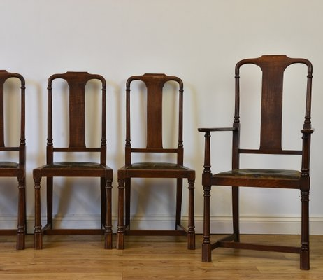 Antique Arts Crafts Oak And Leather Dining Chairs Set Of 6 For