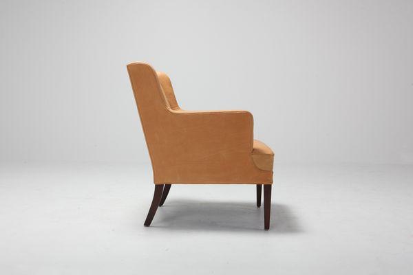 Sedie Bergere moderne in pelle, Scandinavia, anni \'60, set di 2