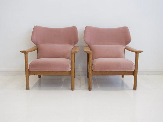 Danish Pink Velvet Armchairs With Oak Frames, 1960s, Set Of 2 1