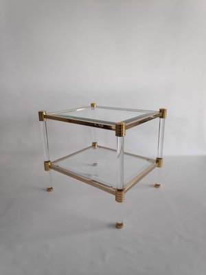 Vintage Gl And Gold Metal Side Table From Roche Bobois 1970s