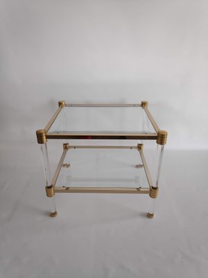 Vintage Glass And Gold Metal Side Table From Roche Bobois, 1970s 1