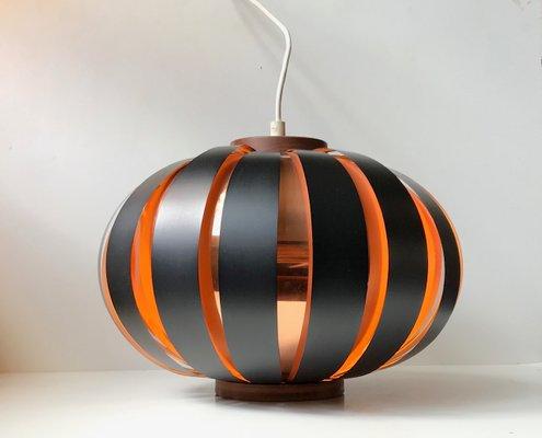 Lampada moderna in rame e teak di svend aage holm sørensen