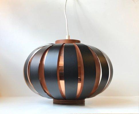Danish Modern Copper Teak Pendant Light By Svend Aage Holm Sørensen