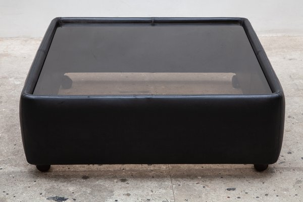 Black Leather Glass Adjustable Coffee Table From De Sede 1970s