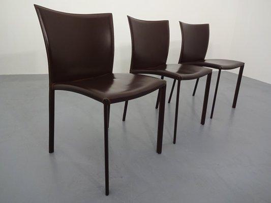 Sedie da pranzo in pelle di Gino Carollo per DRAENERT, 2007, set di 3