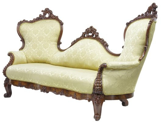 Antique Carved Mahogany Victorian Sofa For Sale At Pamono