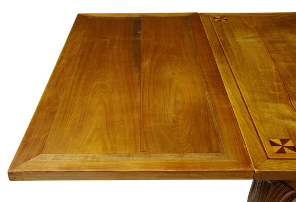 Antique French Inlaid Fruitwood Draw Leaf Dining Table