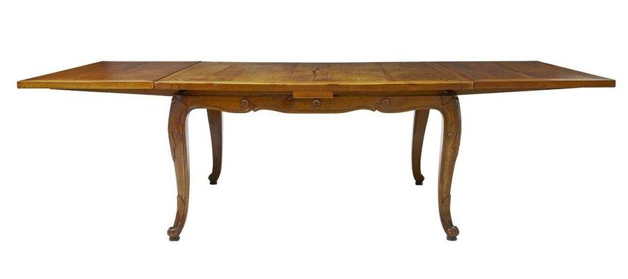 Mesa de comedor extensible francesa antigua con incrustaciones de ...
