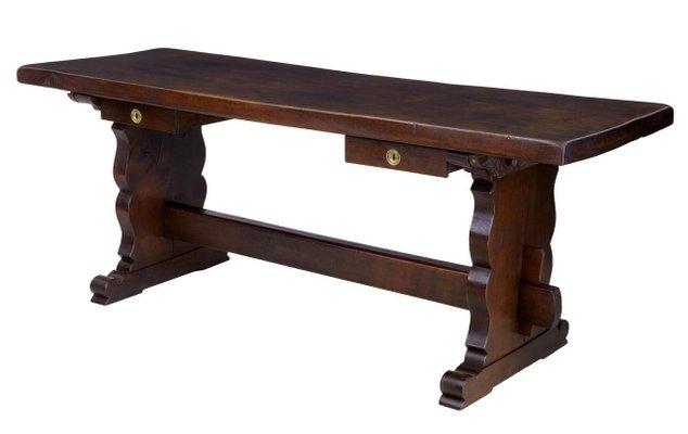 Tavolo da pranzo da refettorio in quercia con base a cavalletto, XIX ...