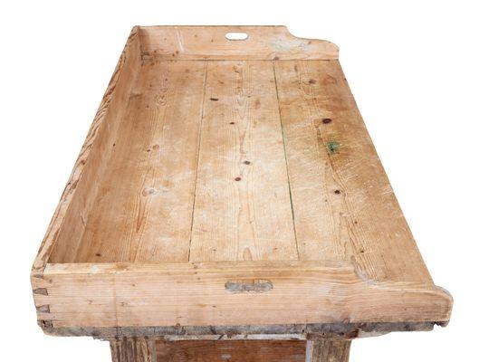 Tavolo da lavoro antico rustico in legno di pino