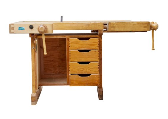 Vintage Swedish Pine School Work Bench From Ljobergs 1950s For Sale