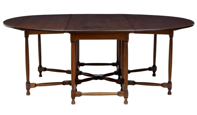 Large Mahogany Gateleg Dining Table 1920s 1