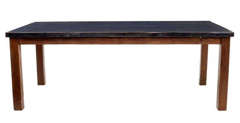 Mesa de comedor grande de madera de teca pintada del siglo XIX