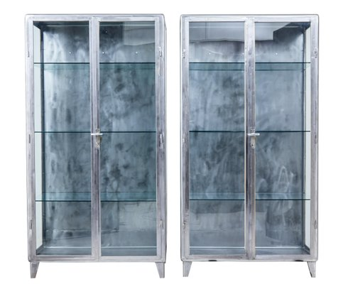 Art Deco Polished Steel Medical Display Cabinets 1920s Set Of 2