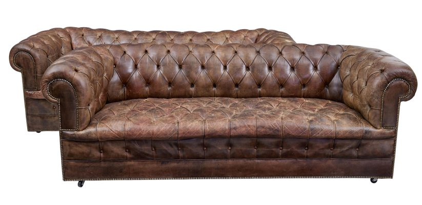 Vintage Leather Chesterfield Sofas, Set Of 2