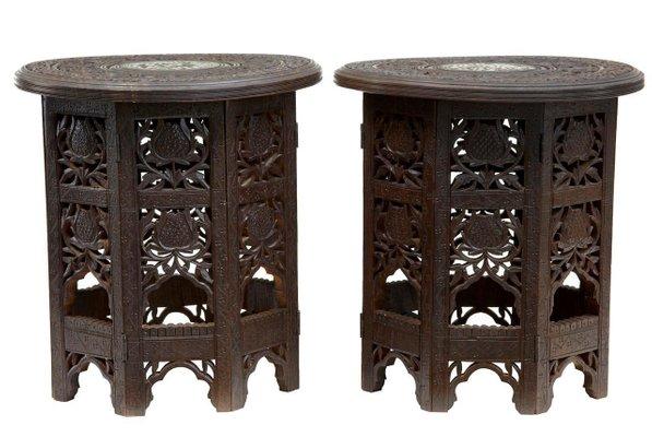 Prime Antique Indian Octagonal Hardwood Occasional Tables Set Of 2 Inzonedesignstudio Interior Chair Design Inzonedesignstudiocom