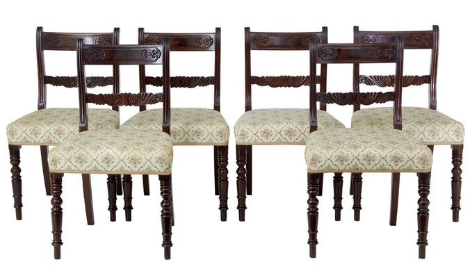 19th Century Regency Style Mahogany Dining Chairs Set Of 6 For Sale At Pamono