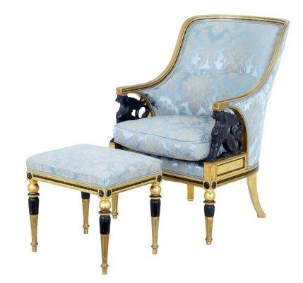 19th Century Swedish Gilt Armchair Stool For Sale At Pamono