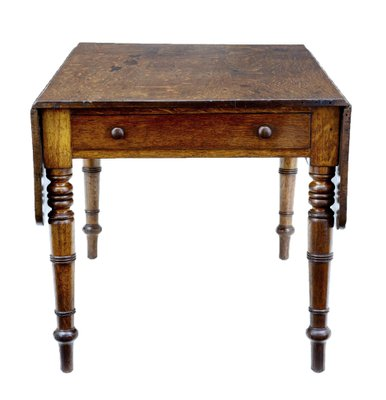 Charmant Antique Victorian Oak Drop Leaf Table With Drawer 1