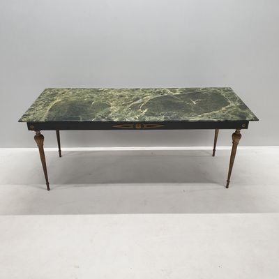 Vintage Brass & Green Marble Coffee Table, 1950s for sale at Pamono