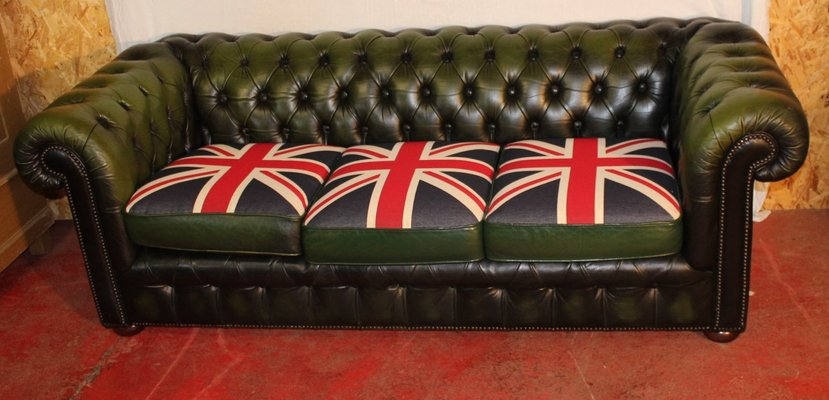 Green Leather 3-Seater Chesterfield Sofa with Union Flag Cushions ...