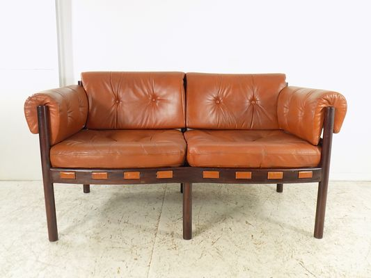 Rosewood & Leather Sofa by Arne Norell for Coja, 1960s for sale at ...