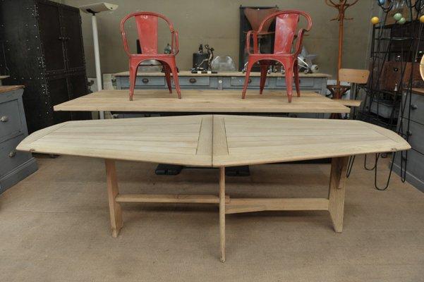 Mesa de comedor plegable de roble macizo de Guillerme et Chambron para  Votre Maison, años 50