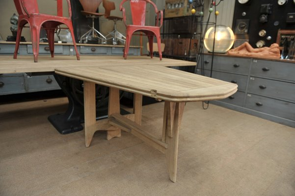 Solid Oak Folding Dining Table By Guillerme Et Chambron For Votre Maison 1950s 3