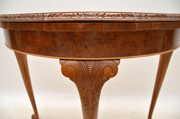 Superbe Vintage Burr Walnut Queen Anne Style Card Table 10