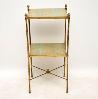 Antique French Brass And Marble Two Tier Table 1