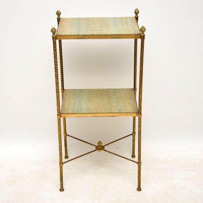 Zweistufiger Antiker Franzosischer Tisch Aus Messing Marmor Bei