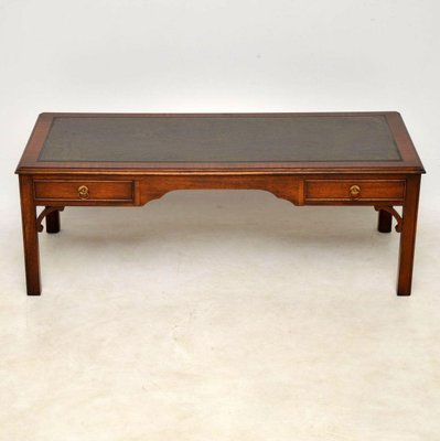 Vintage Georgian Style Mahogany Leather Top Coffee Table