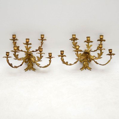 Antique Gilt Bronze Wall Sconce Candelabras Set Of 2 For Sale At Pamono