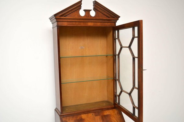 Libreria vintage in mogano con scrivania a scomparsa