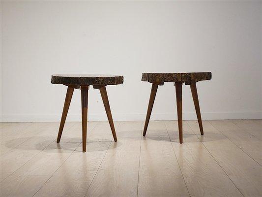 Tables D Appoint En Tronc D Arbre En Acajou 1952 Set De 2