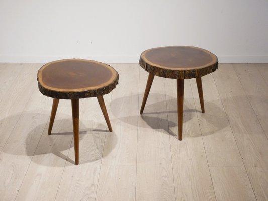 Mahogany Tree Trunk Slice Side Tables, 1952, Set Of 2