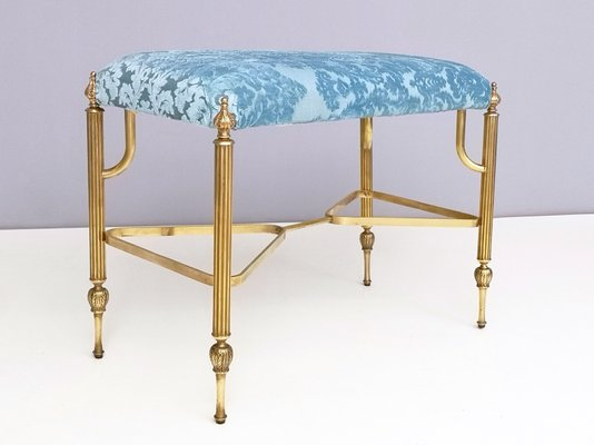 Brilliant Mid Century Cerulean Blue Velvet Ottoman With Brass Legs 1950S Gmtry Best Dining Table And Chair Ideas Images Gmtryco