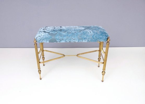 Phenomenal Mid Century Cerulean Blue Velvet Ottoman With Brass Legs 1950S Gmtry Best Dining Table And Chair Ideas Images Gmtryco