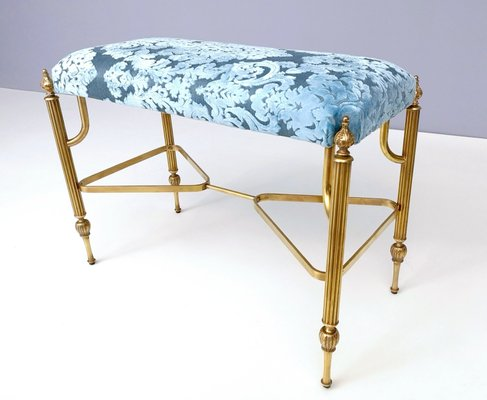 Magnificent Mid Century Cerulean Blue Velvet Ottoman With Brass Legs 1950S Gmtry Best Dining Table And Chair Ideas Images Gmtryco