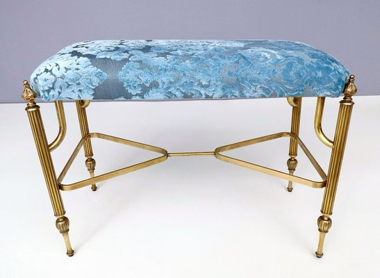 Awe Inspiring Mid Century Cerulean Blue Velvet Ottoman With Brass Legs 1950S Gmtry Best Dining Table And Chair Ideas Images Gmtryco