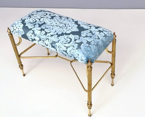Tremendous Mid Century Cerulean Blue Velvet Ottoman With Brass Legs 1950S Gmtry Best Dining Table And Chair Ideas Images Gmtryco