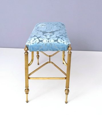 Admirable Mid Century Cerulean Blue Velvet Ottoman With Brass Legs 1950S Gmtry Best Dining Table And Chair Ideas Images Gmtryco