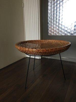 Vintage Rattan Basket Side Table
