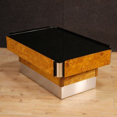 Italian Wood Metal Coffee Table With Mirror Top 1980s