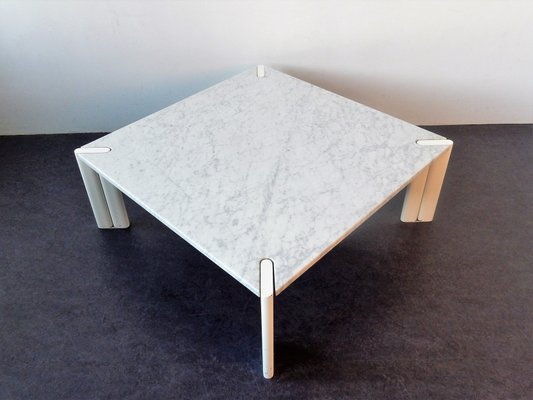 White Marble Coffee Table.Vintage White Marble Coffee Table 1970s